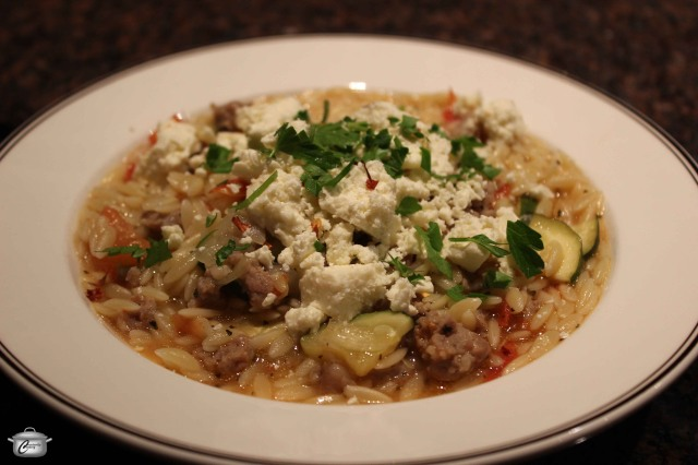 Sausage and vegetables blended with al-dente orzo make a delicious 'meal in a dish'.