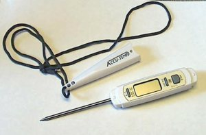 An instant-read digital thermometer is an essential kitchen tool.