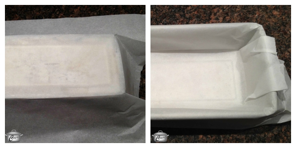 The first step to lining any square or rectangular pan with parchment is to flip the pan over, lay the parchment on top, score the edges with your fingertips and make the folds. Once you've scored the edges and pre-folded the corners, flip the pan over and neatly tuck the parchment inside.