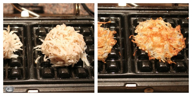 Simply put the grated, soaked and dried potato mixture on a greased waffle iron and let the heat and pressure work their magic! Presto - wafflelatkes!