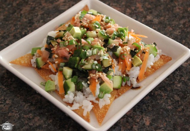 These Asian-inspired nachos are ideal for a party. They're bright, fresh and flavourful.