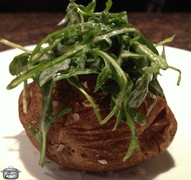 These baked potatoes tasted fantastic and looked very pretty on the plate.