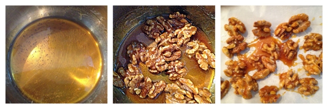 It only takes a few minutes to make the sugar syrup and then coat and separate the toasted walnuts.