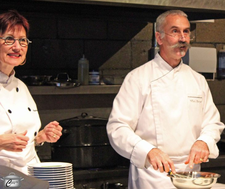C'est Bon Cooking's Chef Andree Riffou was pleased to welcome Chef Marc Berger who was one of her instructors at Le Cordon Bleu Ottawa.