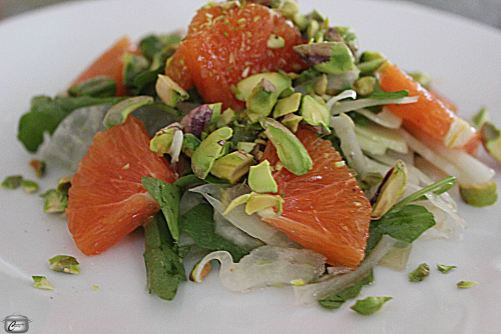 fennel orange and arugula salad with pistachios and vinaigrette