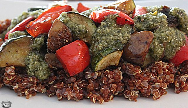 Nutty-tasting quinoa is the perfect base for roasted vegetables and pesto.