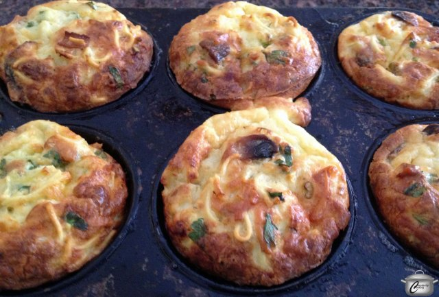 Mini-frittatas baked in a muffin tin are pretty and easy to serve.