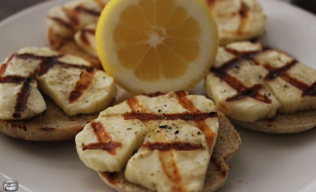 Halloumi is a delicious cheese that holds together beautifully when heated.