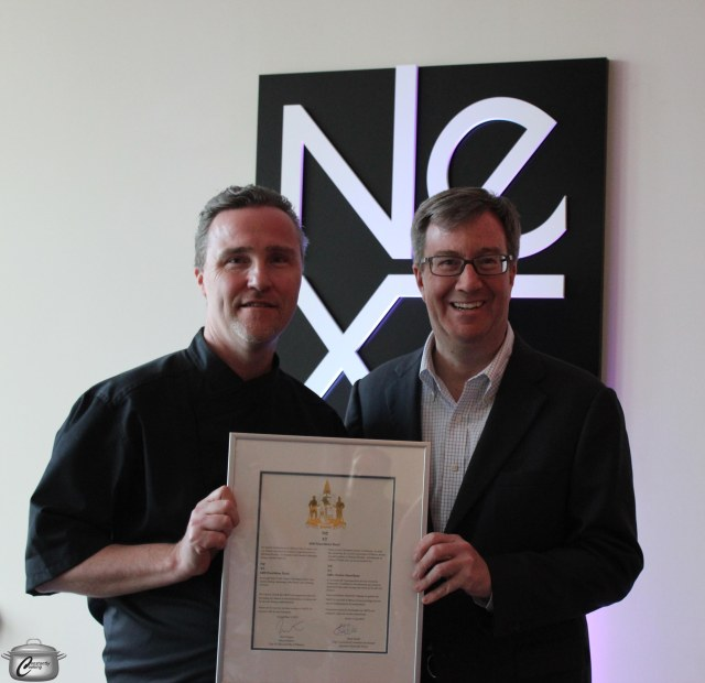 Chef Blackie was delighted to receive official congratulations from Ottawa Mayor Jim Watson on the opening of NEXT.