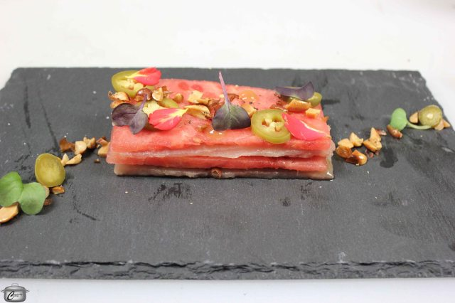 Tender albacore tuna pairs beautifully with compressed watermelon and some delightful garnishes.