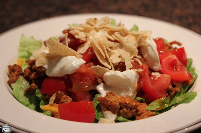 Creating tacos as a salad in a bowl is a  fun and easy twist on a family favourite.