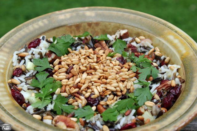 This salad showcases many of Canada's wonderful native foods. It's crunchy and delicious - not to mention vegan friendly and gluten free!