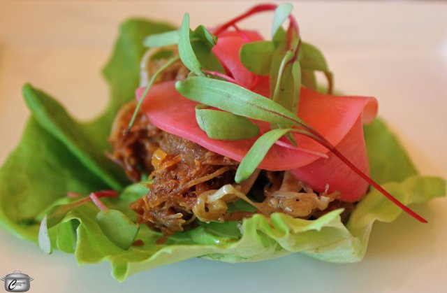 BBQ duck lettuce warps with pickled radish and roasted enoki mushrooms- Lettuce and pickled radish provided by Acorn Creek Farms