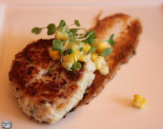 Lump crab cake with roasted corn, ginger-tamarind chutney, and cilantro sprouts- Sprouts provided by Butterfly Sky Farms