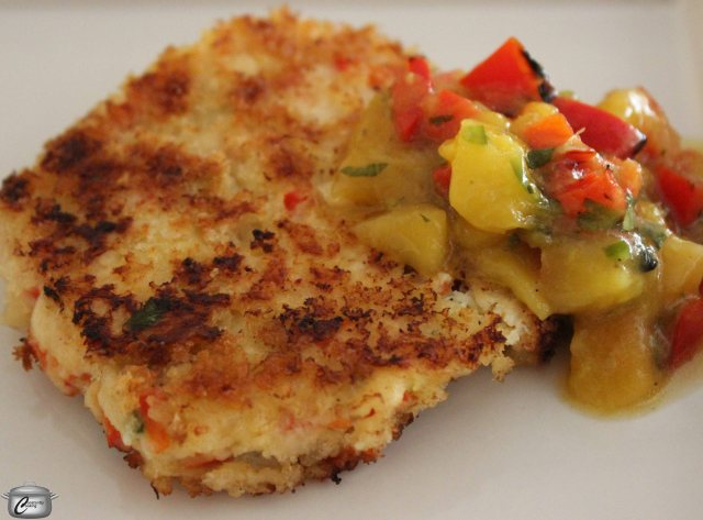 The crisp exterior keeps the crab cakes moist and flavourful, even when prepared ahead and reheated. The grilled mango salsa really makes them shine.