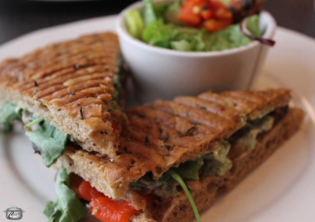 "Dubbed ""A Pretty Good Love"", this vegetarian panini packed a huge flavour punch with fillings that included portobello, roasted peppers, pickled eggplan, pesto mayo, arugula and goat cheese"