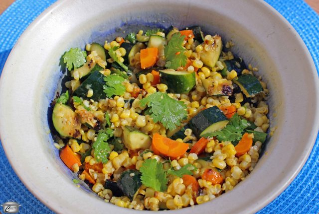 Grilling the vegetables for  this salad preserves a lot of their flavour and texture that might be lost with other cooking methods.