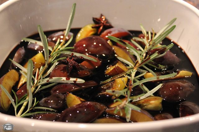 Roasting the plums softens them and infuses them with the balsamic, rosemary and anise.