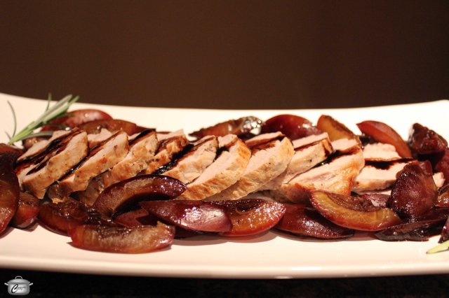 Roasted pork and plums are a beautiful combination, especially with a balsamic-based sauce.