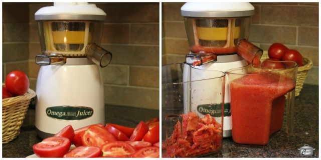 A juicer makes quick work of pureeing large quantities of tomato which you can freeze as is or cook up into delicious sauce.