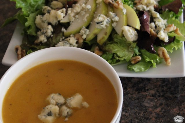 This spicy soup was perfectly balanced by the classic side salad with pear, blue cheese and walnuts.
