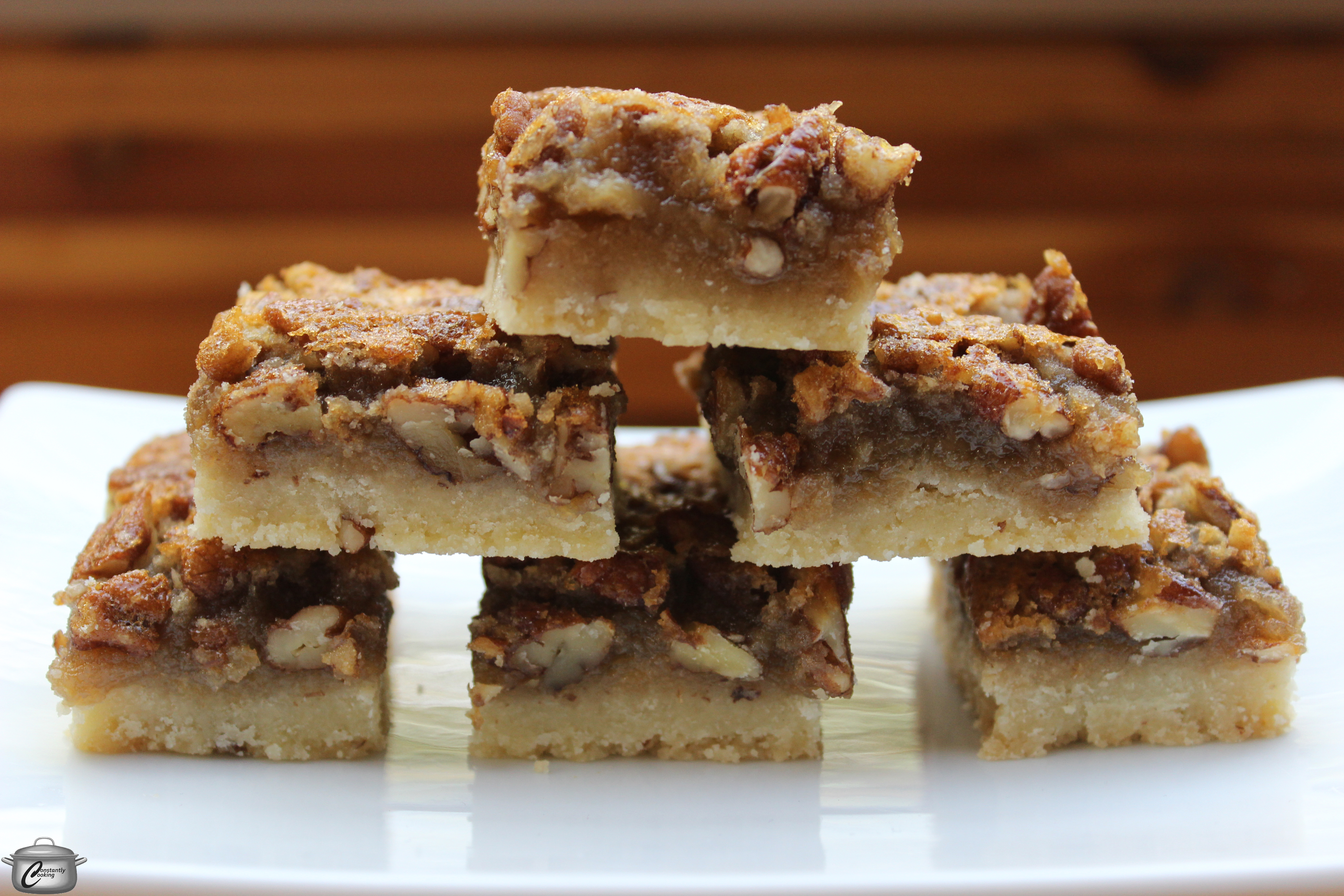 to classic pecan pie, these squares feature a nutty shortbread crust ...