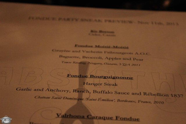 A printed menu which included fun Fondue Facts and etiquette tips was a great conversation starter at our table.