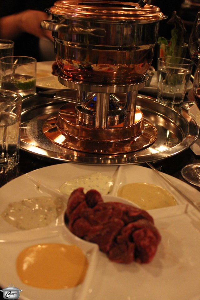 The gleaming copper fondue pot is as beautiful as it is functional and the hanger steak morsels were tender and very flavourful after their quick stint in the scalding oil.