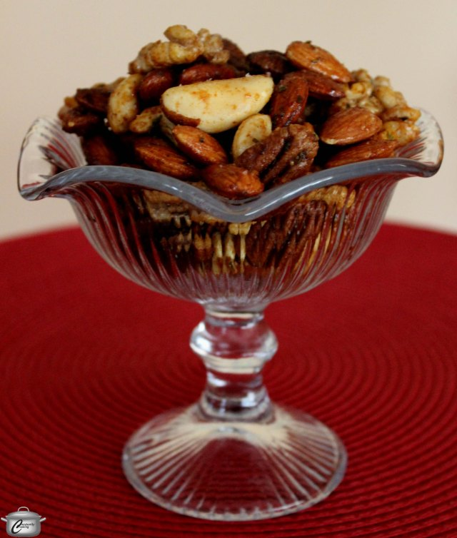 The combination of maple syrup, rosemary and chipotle chili powder makes these nuts an irresistable treat.