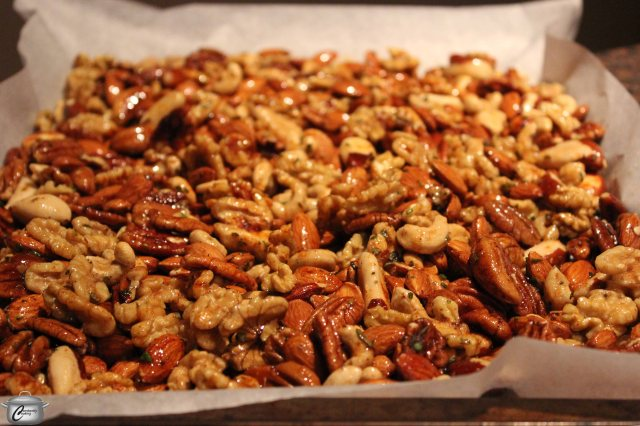 Roasted Nuts with Maple, Chili and Rosemary | Constantly Cooking