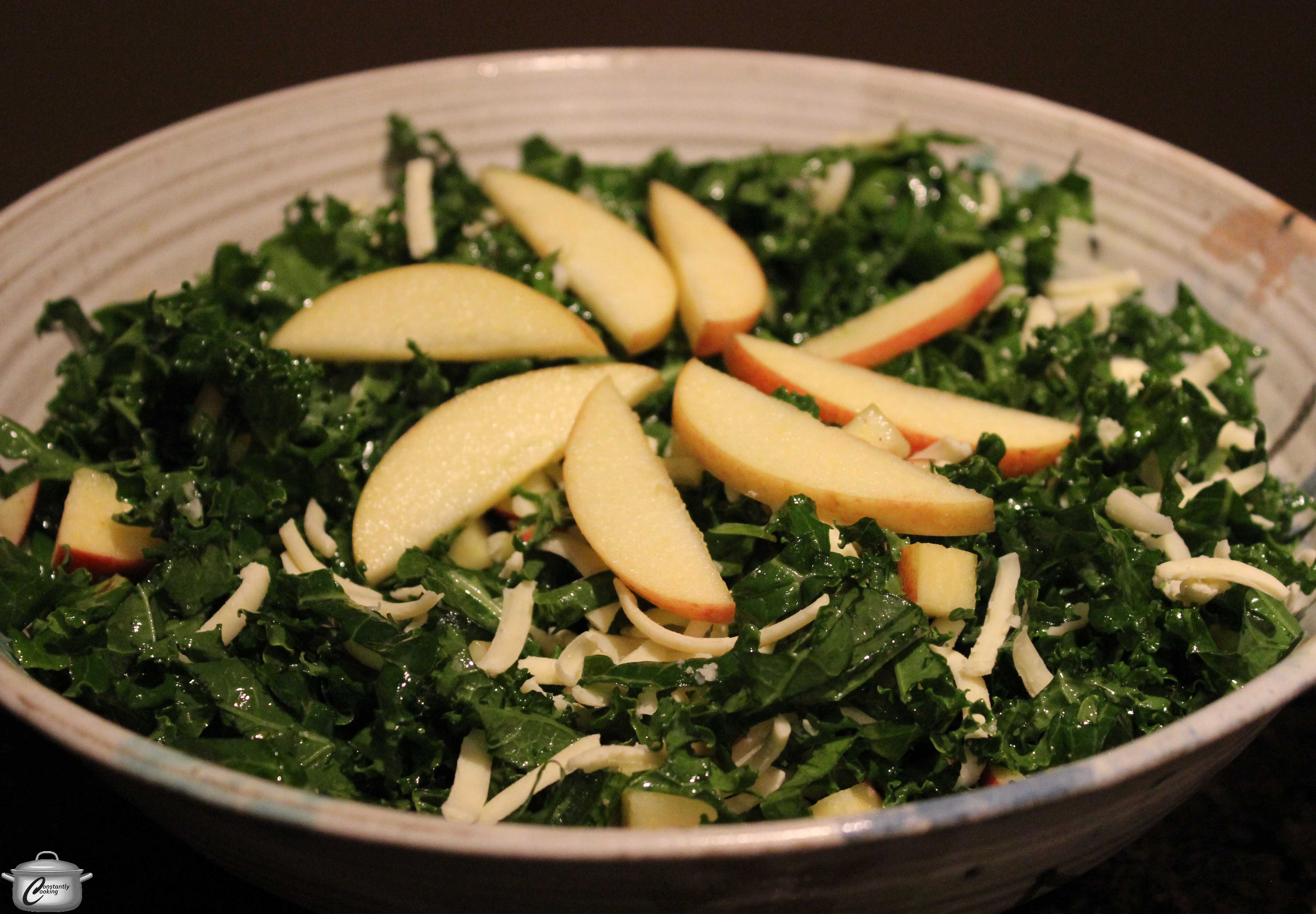 Kale Salad with Apples and Cheddar | Constantly Cooking