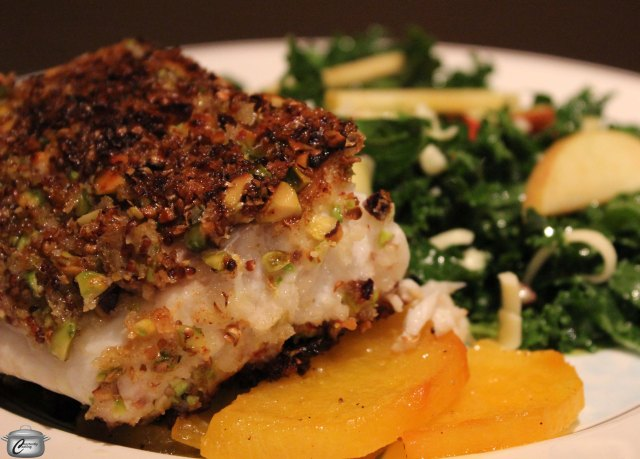 The crunchy pistachio and panko crust yields to perfectly tender and juicy fish inside.