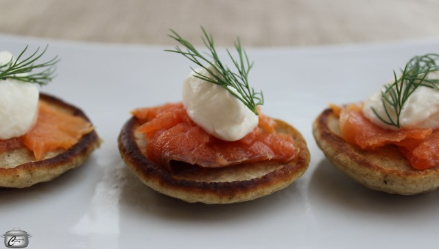 Buckwheat flour gives blini their unique, earthy taste. They're delicious with a variety of toppings including smoked salmon, sour cream and caviar.