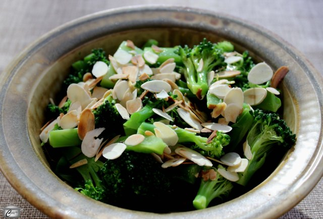 The vinaigrette and almonds add flavour and texture to broccoli.