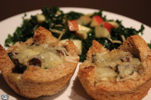 Toast cups are light and delicious; they can be filled about a zillion different ways although eggs, cream, mushrooms and cheese are heavenly!