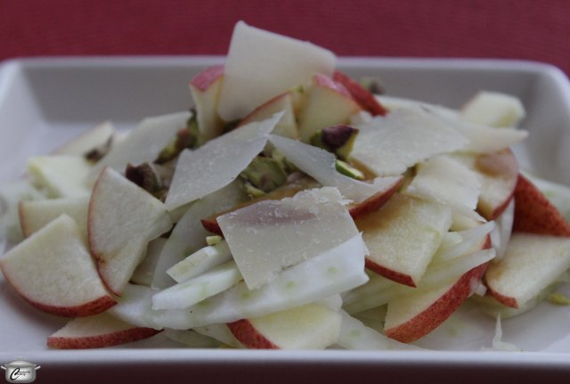 The combination of fennel, apple, pistachio and parmesan is accented beautifully by the pomegranate molasses vinaigrette in this perky little salad.