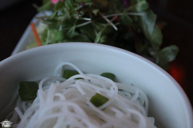 Ladle the Thai-inspired broth over a bowl of cooked vermicelli noodles and you've got a super tasty soup. Don't miss out on the sesame-dressed side salad - it is fabulous.
