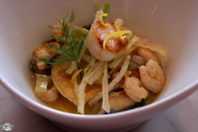 Charles Part from Les Fougères served a heavenly chowder composed of seared scallop and potted shrimp with salt cod ravioli and mussels.