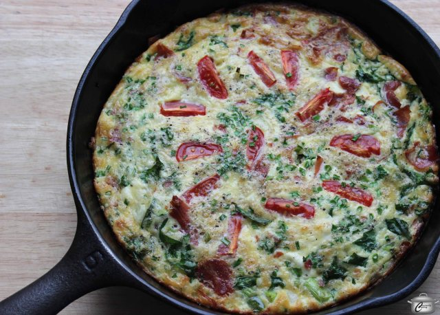 Frittatas are a great way to use up small quantities of whatever vegetables you have on hand.