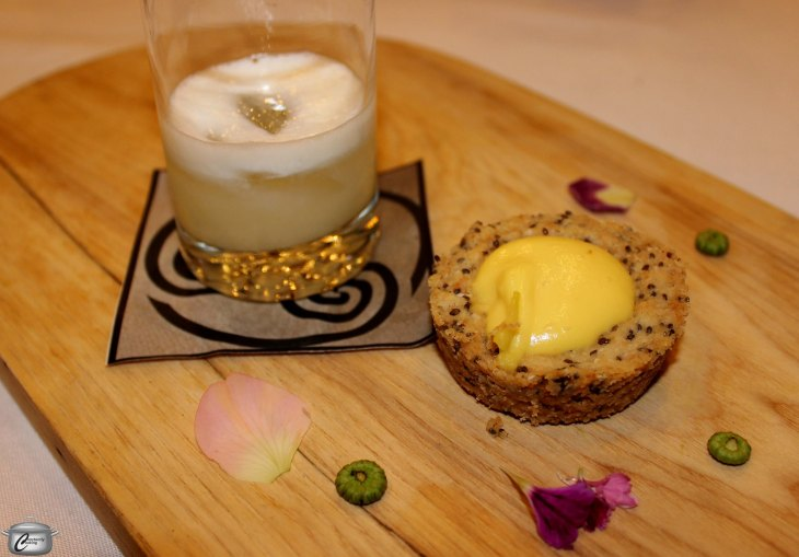 Vodka sour infused with daisy buds, fennel, coriander, dill seeds and juniper berries alongside a chia seed pastry filled with lemon and golden beet curd.