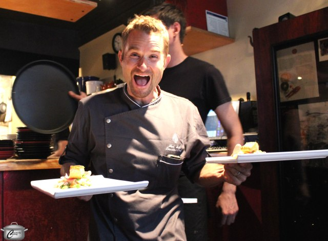 Chef Ned Bell had fun serving guests at the Navarra event for Chefs for Oceans.