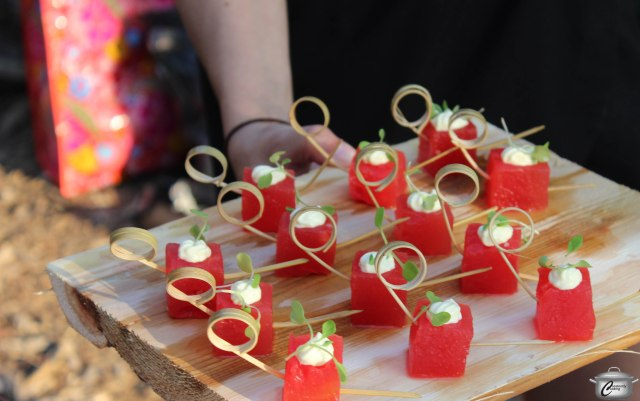 These pretty compressed watermelon cubes were a big hit among guests.