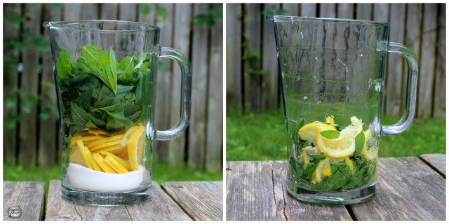 Muddling the sugar, lemon and mint draws juices and essential oils out of the fruit and herbs.