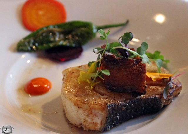 Pacific halibut with Quebec pig cheek, Ontario beets and Spanish Padron peppers.