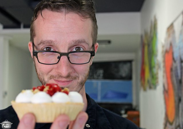 Chef Michael Holland with his red licorice tart.