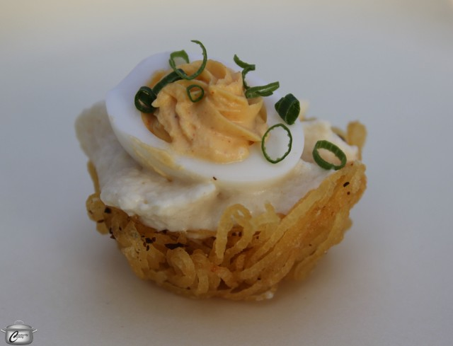 Delightful little bites to start the evening included these delicate stuffed potato nests.