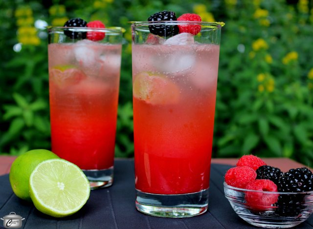 This classic lime cocktail gets a huge flavour and colour boost with raspberry and mint simple syrup.