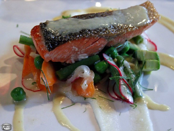 Perfectly prepared, this roasted Skeena River Sockeye salmon was served with sweet and sour local vegetables and NK'MIP Riesling vinaigrette.