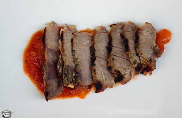 smoked wild boar with heirloom tomato chutney