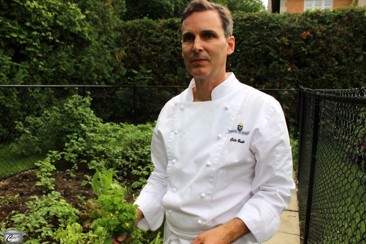 Swedish Embassy Chef Cole Baker, in his garden at the ambassador's residence